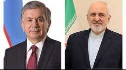 ظريف: ايران تسعى لتطوير التعاون مع جمهورية أوزبكستان في مختلف المجالات