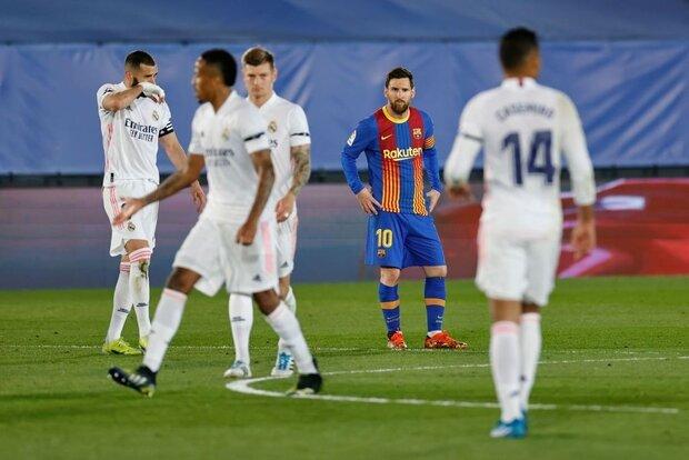 رئال مادرید با شکست بارسلونا صدرنشین شد/ادامه ناکامی مسی در گلزنی