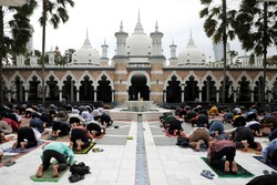 Malaysian Muslims holding Congregational Prayer in Ramadan