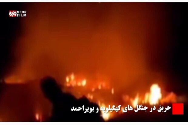 جنگل های کوه سیاه شهرستان چرام دچار آتش سوزی شد
