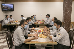 Fire Fighters having a different Iftar at fire station