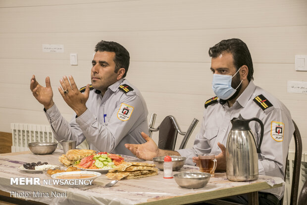 Fire Fighters having a different Iftar in fire station