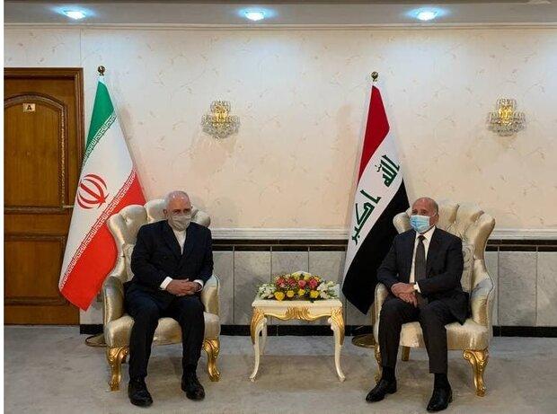 ایرانی وزیر خارجہ کی عراقی وزیر خارجہ اورصدر سے ملاقات/ عراق کے مثبت کردار کا خیر مقدم