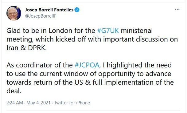 Borrell urges on seizing chance to advance US return to JCPOA