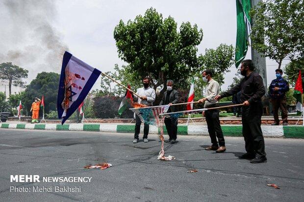 اهتزار پرچم فلسطین در قم