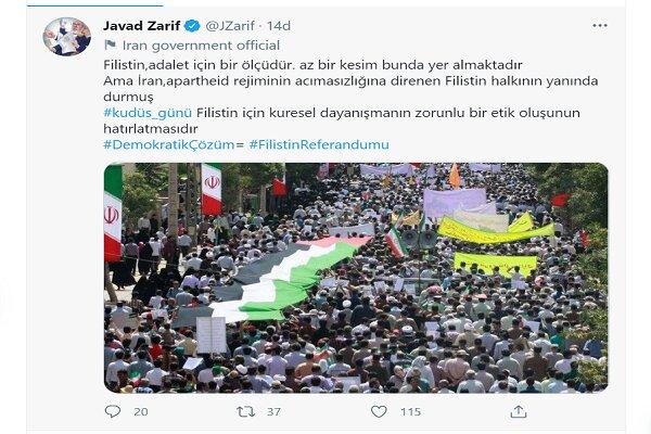 """Zarif'ten Türkçe """"kudüs Günü"""" paylaşımı"""