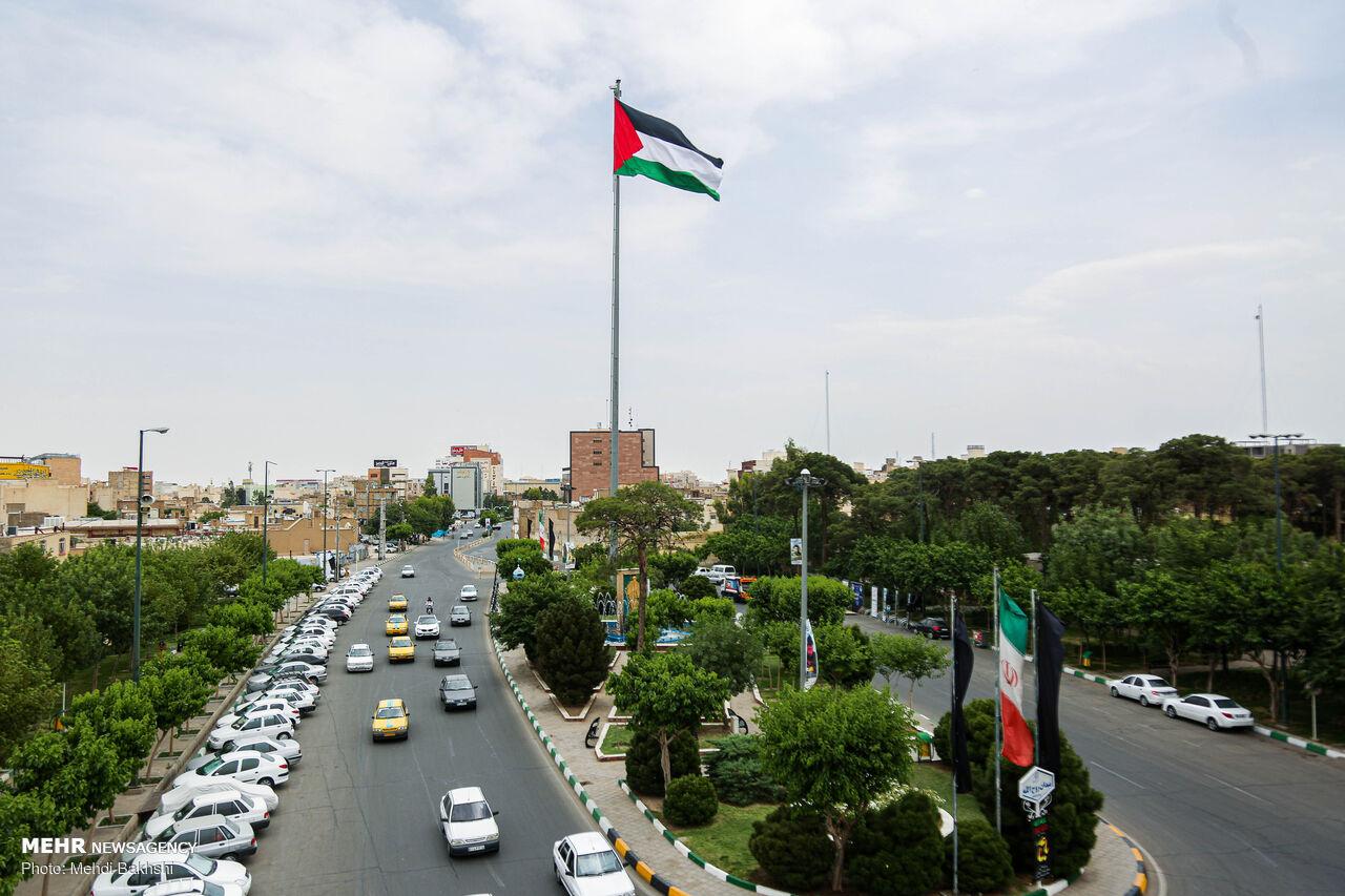 اهتزار پرچم فلسطین در قم به مناسبت روز قدس