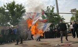 پرچم رژیم صهیونیستی در قزوین به آتش کشیده شد