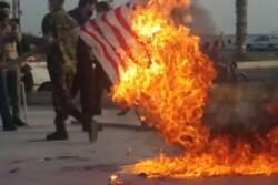 پرچم رژیم اشغالگر قدس در گناوه به آتش کشیده شد