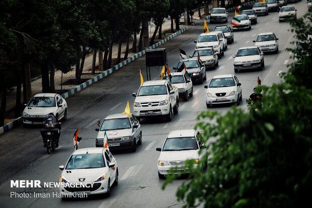 ہمدان میں عالمی یوم قدس کے موقع پر گاڑیوں اور موٹر سائیکلوں کی ریلیوں کا اہتمام