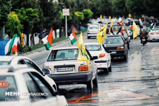 راهپیمایی خودرویی روز قدس در همدان