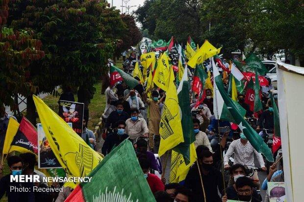 پاکستان کے مختلف شہروں میں فلسطینیوں کی حمایت میں مظاہرے جاری