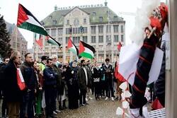تظاهرات جمعیت فلسطینیان هلند در اعتراض به جنایات رژیم صهیونیستی