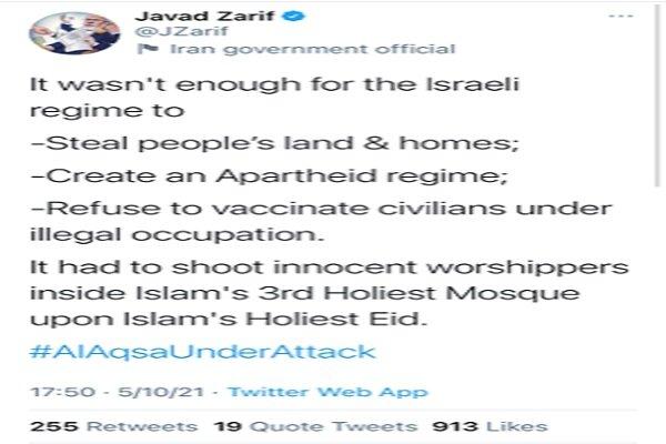 FM Zarif reacts to Zionists' crimes in Al-Aqsa Mosque