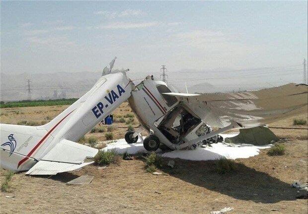 سقوط هواپیمای فوق سبک فانتوم در فرودگاه اراک/ دو نفر جان باختند