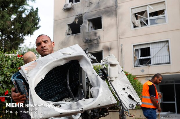 خسارات موشک های فلسطینی در شهر اشغالی عسقلان