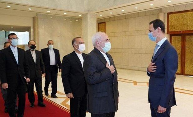 الأسد يستقبل ظريف والوفد المرافق له