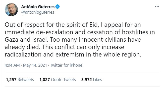 Guterres calls for de-escalation of hostilities in Gaza