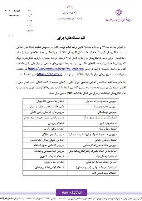 نامه دبیر شورای اجرایی فناوری اطلاعات به دستگاههای دولتی