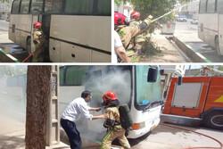 حریق اتوبوس مسافربری در قرچک