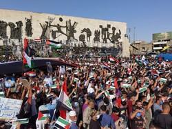 مئات الآلاف من العراقيين يتضامنون مع الشعب الفلسطينيفي بغداد