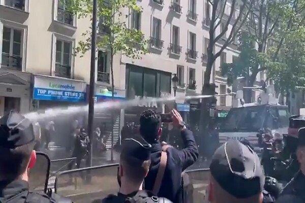 پلیس فرانسه به تظاهرات حامیان فلسطین یورش بُرد
