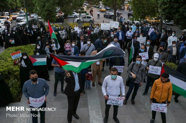 Tebriz'de Filistin'e destek gösterisi