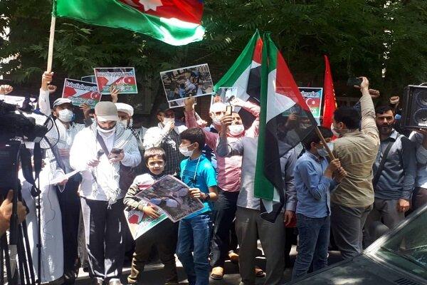 İran'daki Azerbaycanlılar Siyonistlerin Filistin'e saldırılarını protesto etti