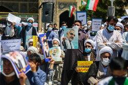 قم میں حوزہ علمیہ قم کے طلاب کا فلسطینی عوام کی حمایت میں مظاہرہ
