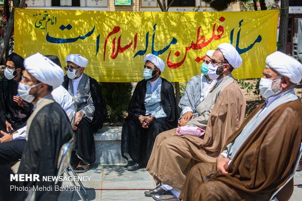 جمع اعتراضی حوزویان به جنایات رژیم صهیونیستی در قم