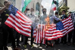 Tahran halkı Siyonist Rejim'in cinayetlerini kınamak için toplandı