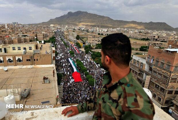 راهپیماییهای گسترده مردم یمن در حمایت از فلسطین