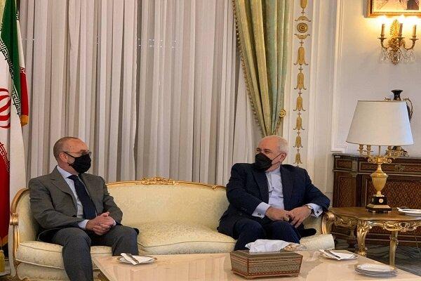 ظريف يبحث مع مسؤول في مجلس الشيوخ الإيطالي القضايا الثنائية