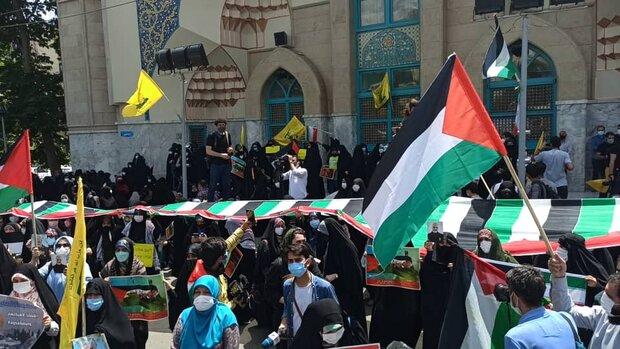 أبناء طهران ينظمون تجمعا احتجاجيا نصرةً للشعب الفلسطيني