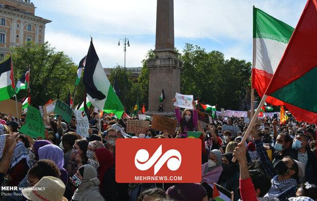 İtalya'da Siyonist Rejim'in Filistin'e yönelik saldırıları protesto edildi