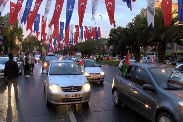 İstanbul'da yüzlerce araçlık Siyonist protestosu