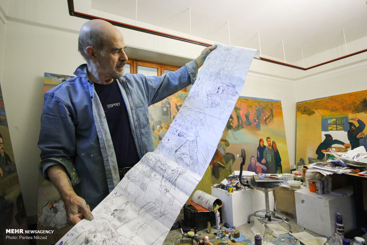 نقاشی ۱۰۰ متری از انقلاب ۴۳ ساله/ به حاج قاسم احساس دین میکردم