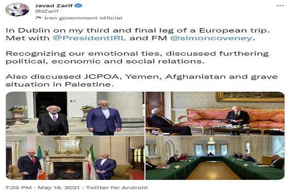 FM Zarif meets with Irish ranking officials on bilateral ties