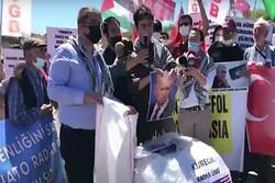 تظاهرات ضد صهیونیستی در ترکیه/ حمل تصاویر سردار سلیمانی
