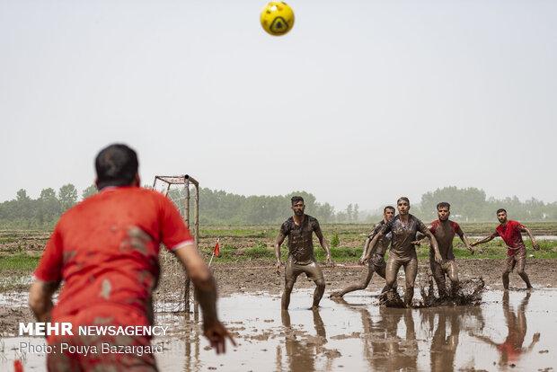 Soccer on paddy field