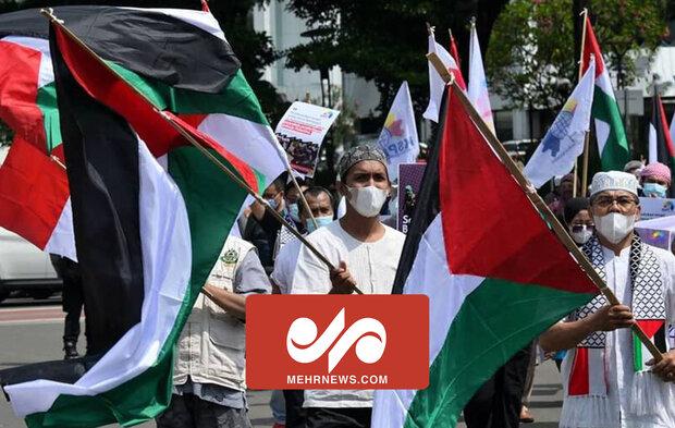 حامیان فلسطین در پایتخت اندونزی