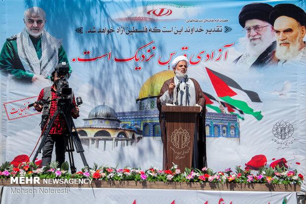 تجمع مردم بیرجند به مناسبت پیروزی مقاومت فلسطین