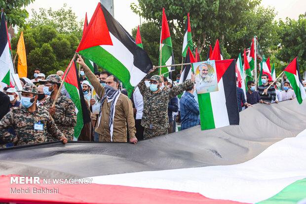 اجتماع قمی ها به شکرانه پیروزی مردم فلسطین برابر رژِم اشغالگر قدس