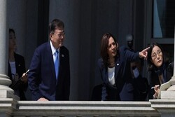 VP Harris wipes her hand after shaking hand with S Korea Pres