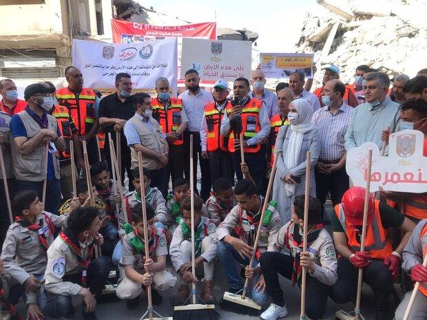 حنعمرها تبدأ بتنظيف شوارع غزة استعدادا للاعمار بعد الحرب