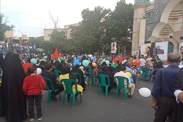 Children in Tehran celebrate recent victory of Palestinians