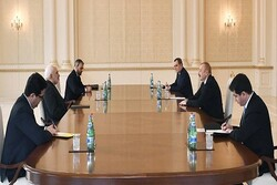 FM Zarif, President Aliyev hold meeting in Baku