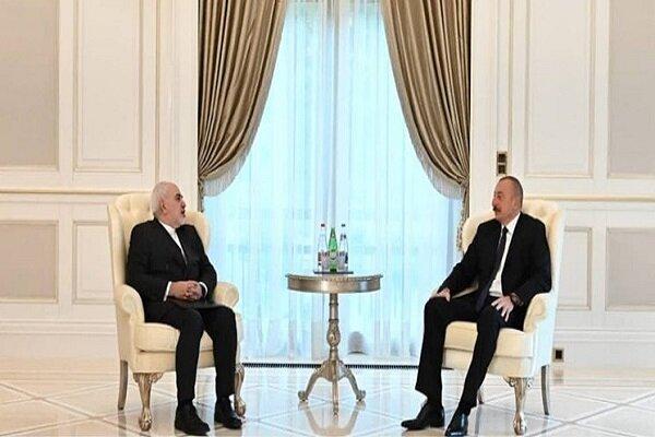 ظريف يبحث مع علييف العلاقات الثنائية والقضايا ذات الاهتمام المشترك