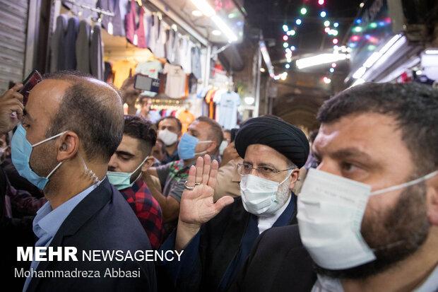 حضور آیت الله سید ابراهیم رئیسی در بازار تهران