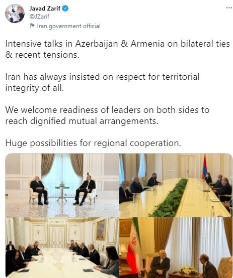 Iran always insisting on respect for territorial integrity